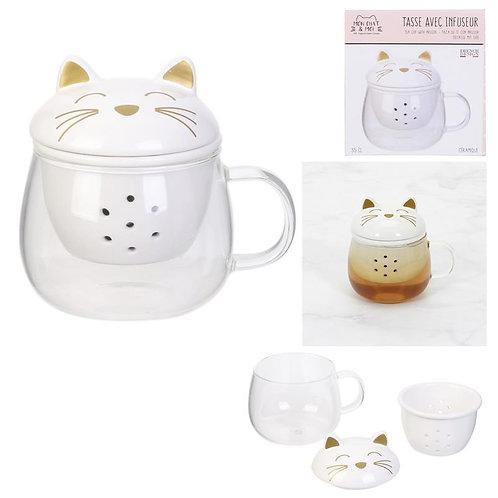 Tasse chat avec infuseur