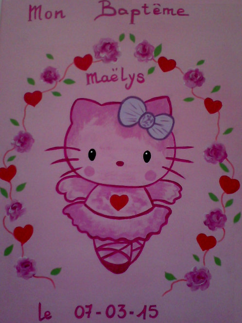 Toile peinte Hello Kitty