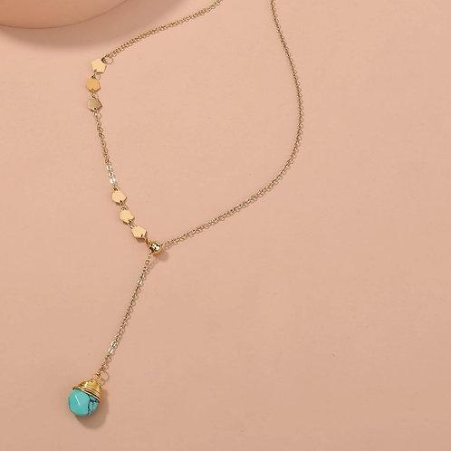 Collier doré et pierre naturelle Turquoise