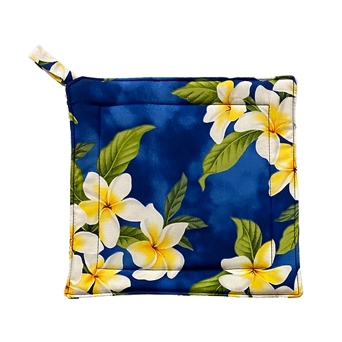 Blue Plumeia Potholder