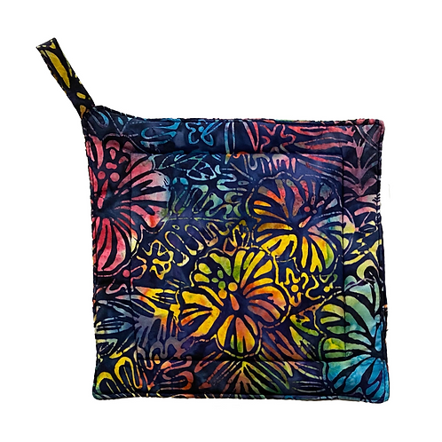 Rainbow Hibiscus Batik Potholder