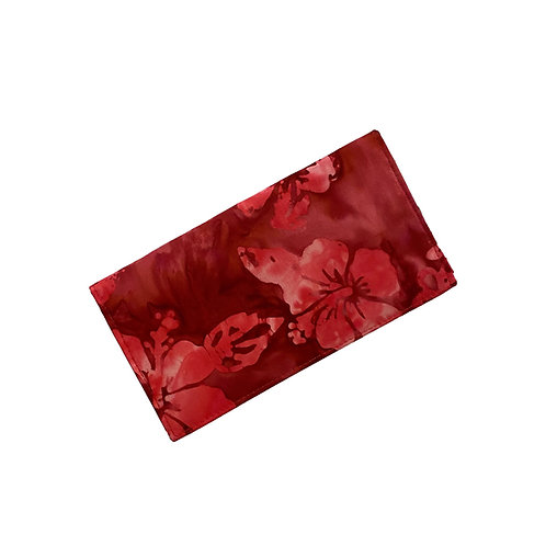 Red Hibiscus Batik Checkbook Cover