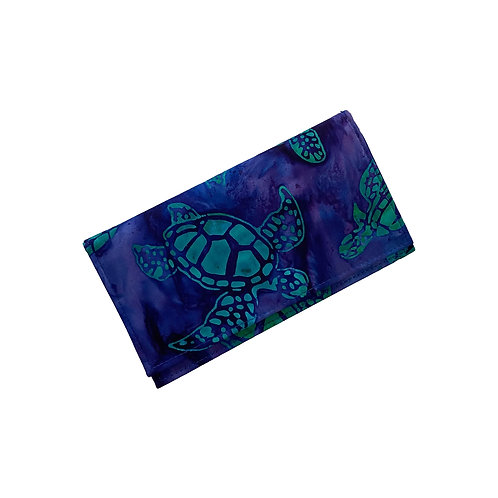 Deep Blue Honu Batik Checkbook Cover