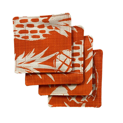 Pineapple Canvas in Orange Set of 4 Coasters