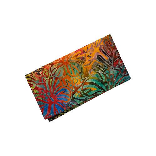 Rainbow Hibiscus Batik Checkbook Cover