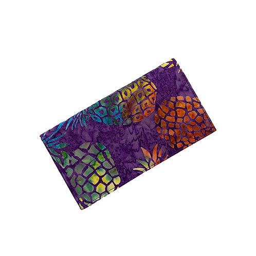 Purple Pineapple Batik Checkbook Cover