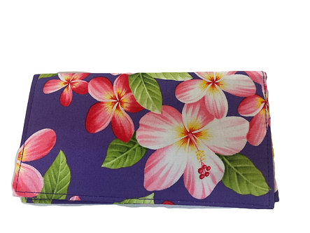 Purple Plumeria Garden Checkbook