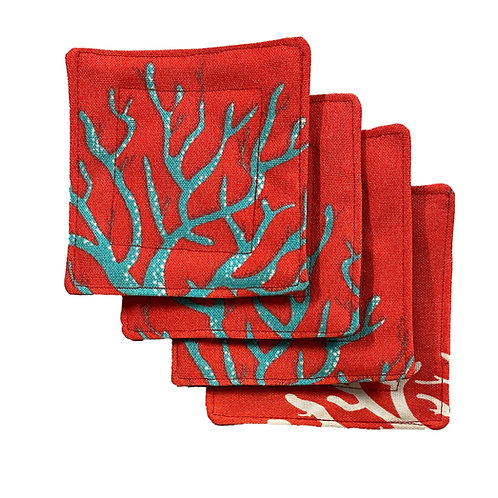 Coral Reef in Salmon Set of 4 Coasters