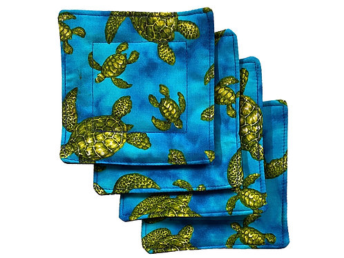 Blue Honu Set of 4 Coasters