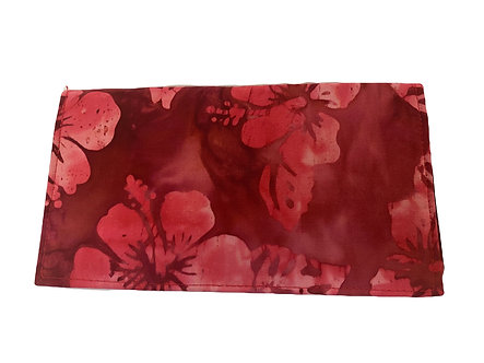 Red Hibiscus Batik Checkbook