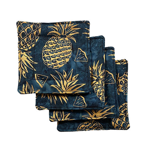 Golden Pineapples in Blue Set of 4 Coasters