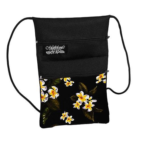 Black Plumeria String Bag