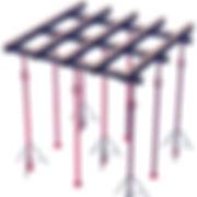 Escoramento ecológico sem pontalete. Escoramento de Laje se faz com aluguel de escoras  metálicas, vigas e forcados metálicos