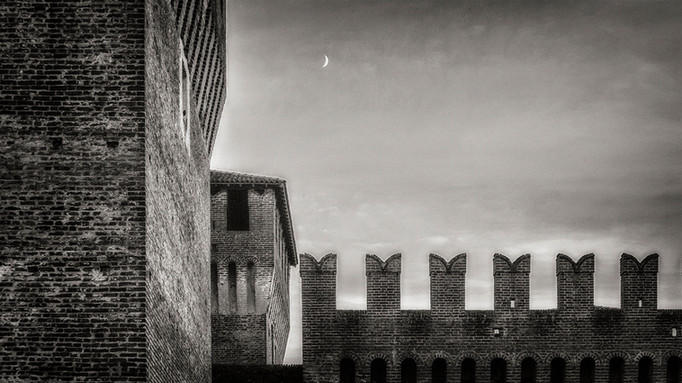 Castle and crescent moon