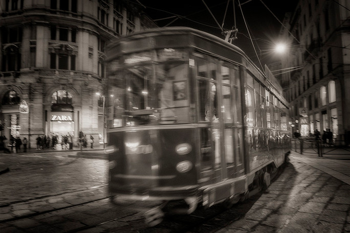Night Tram, Milan Italy