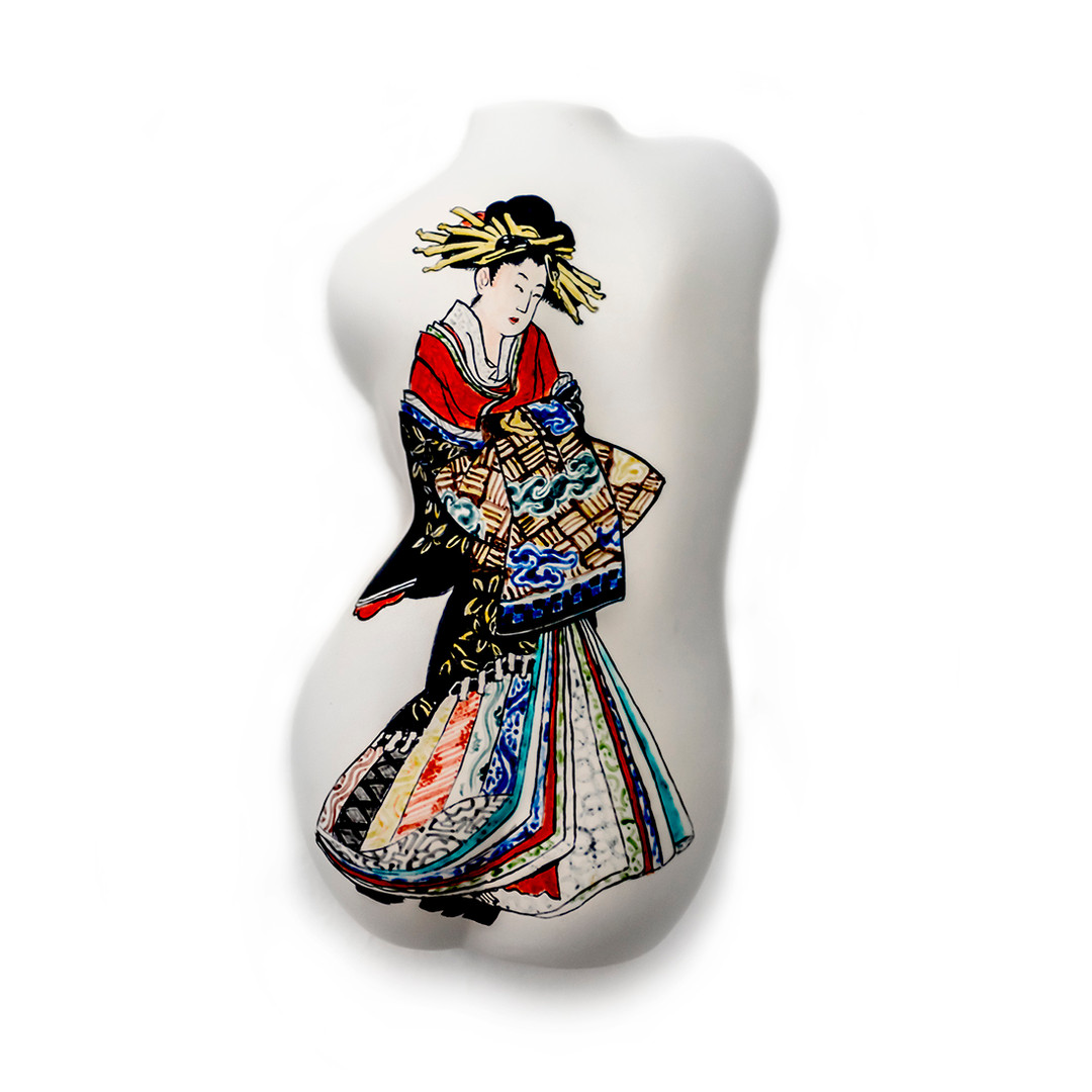 #oiran #ukiyoe #back #twist Ceramic Sculpture