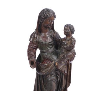 Vierge à l'Enfant en noyer
