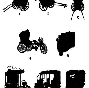 Rickshaw Racing Silhouettes