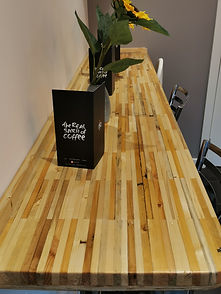 Work top in coffee shop made by students