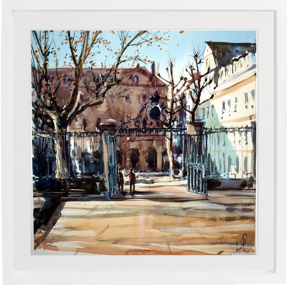 Этюд ворот в Страсбурге в раме.jpg