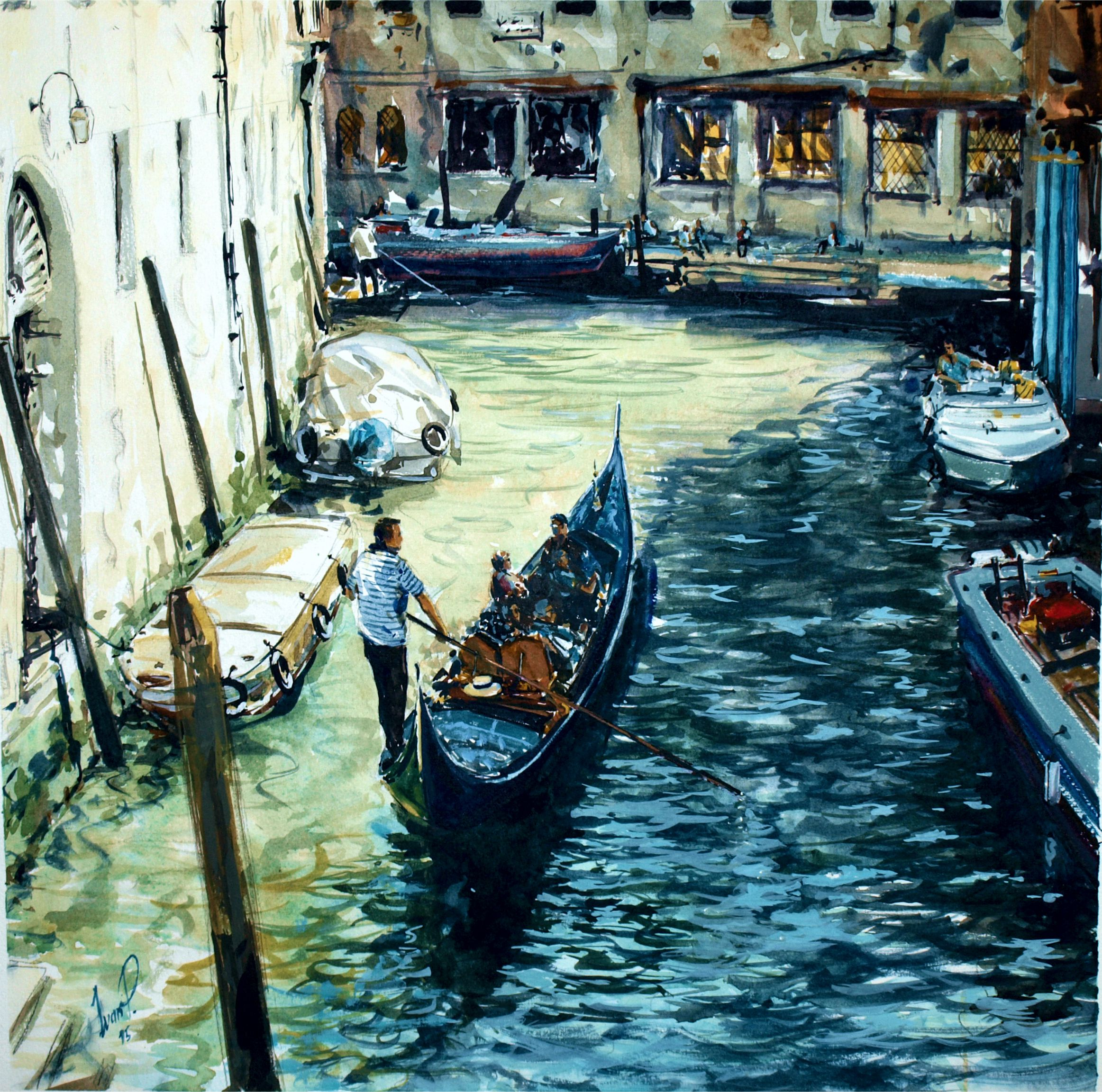 Venice canal view with gondola