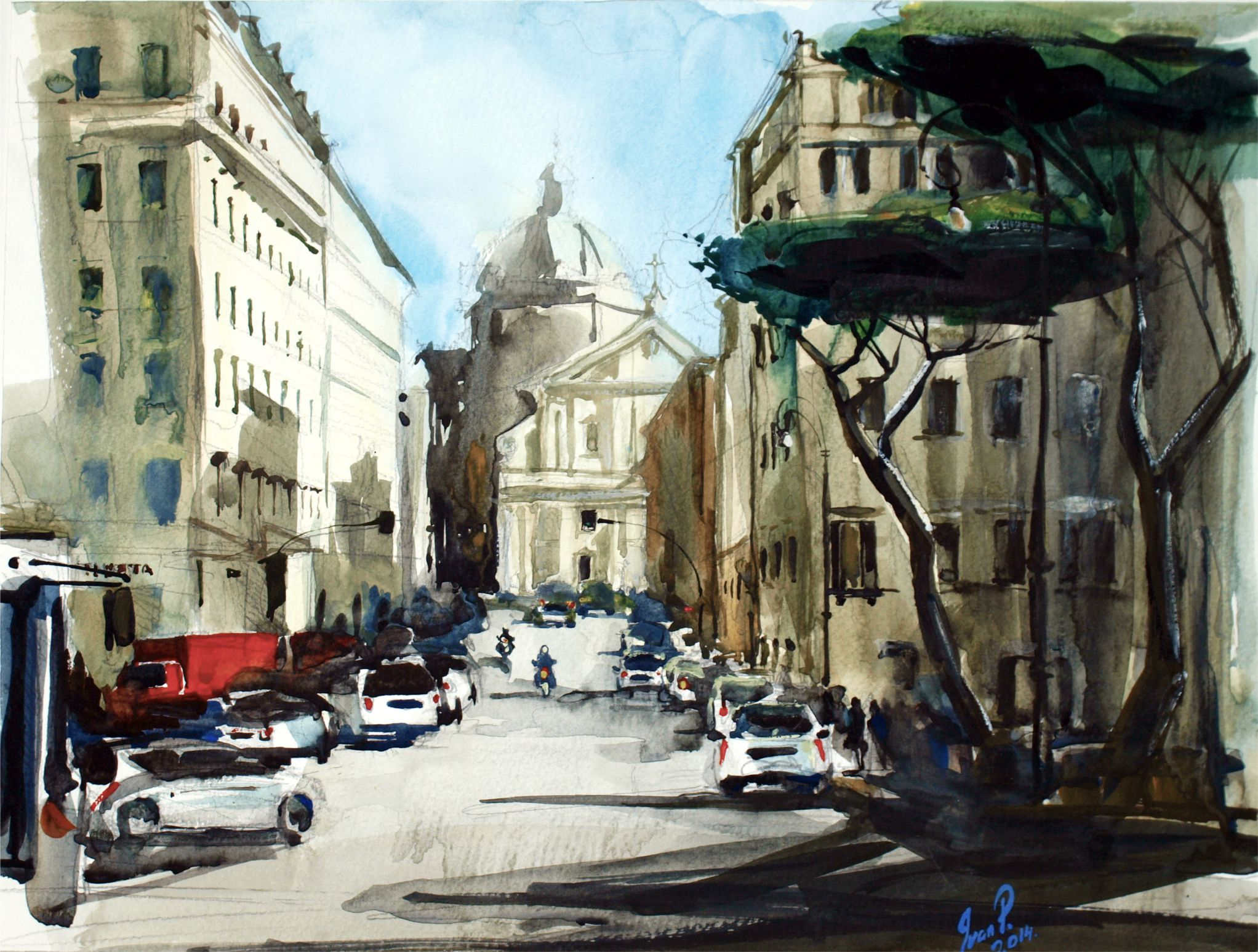 Square in Rome. Etude
