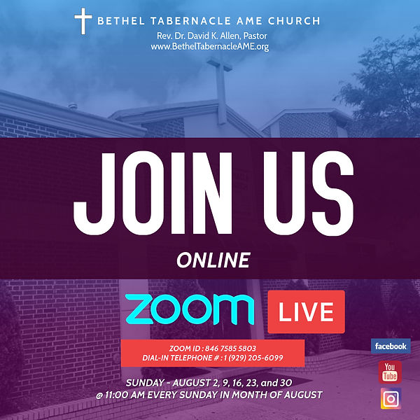 Zoom - Worship Service flyer for August