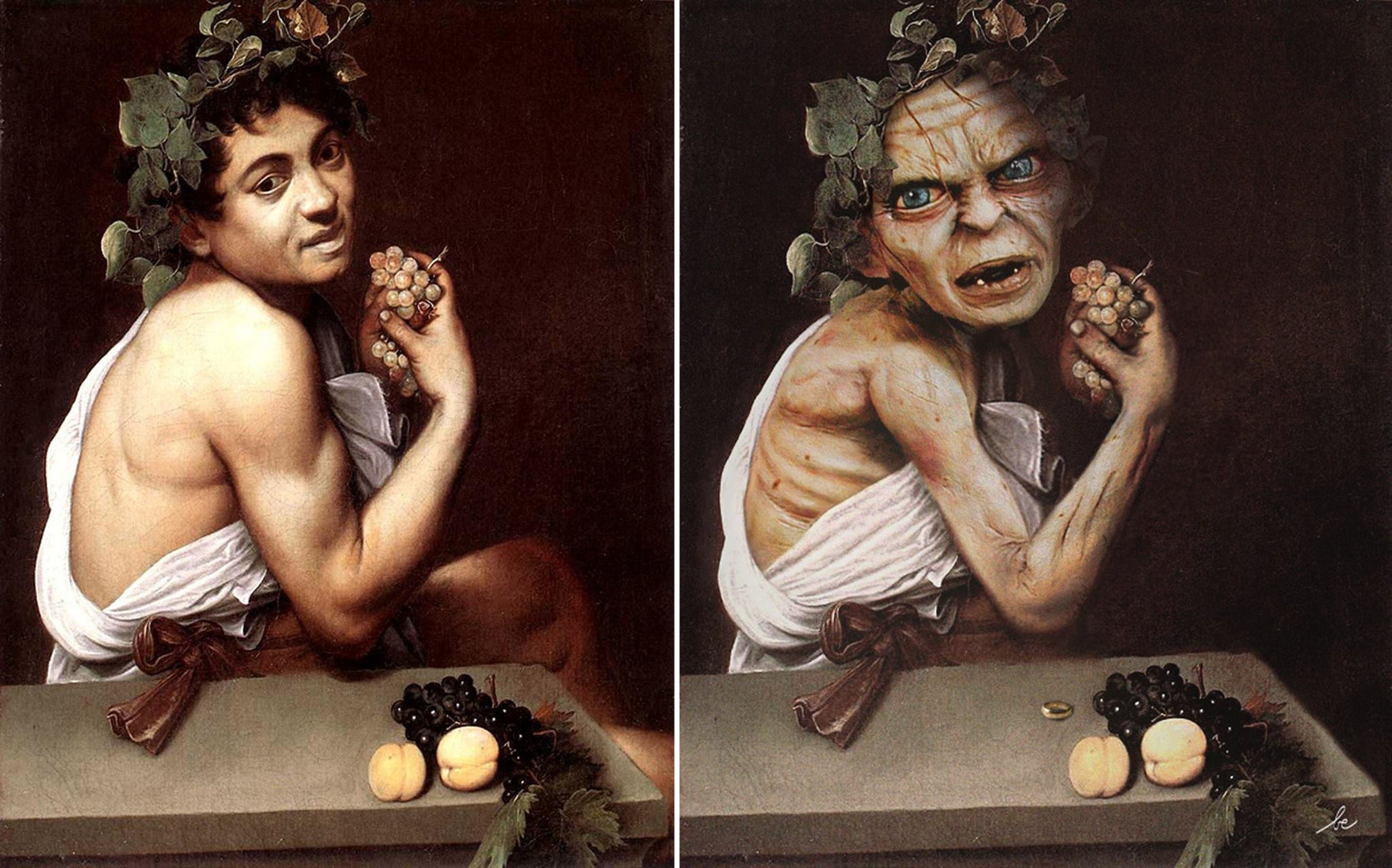 Gollum VS Le Jeune Bacchus malade, de Le Caravage