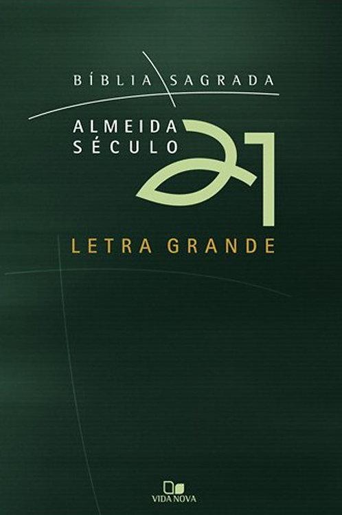 Bíblia Almeida Século 21 Letra Grande brochura - Verde c/capa cristal