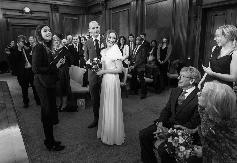 Bridal party excitement