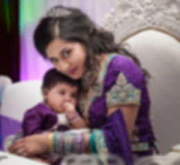 Lovely moment of Bride and toddler