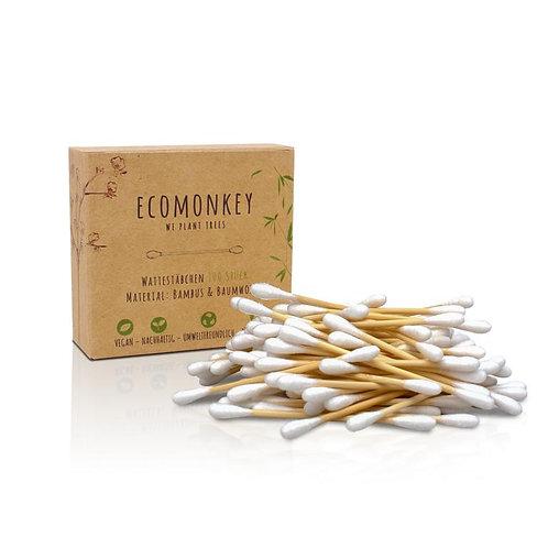 Bambus-Wattestäbchen mit Baumwolle 2er Pack (2x100 Stück)