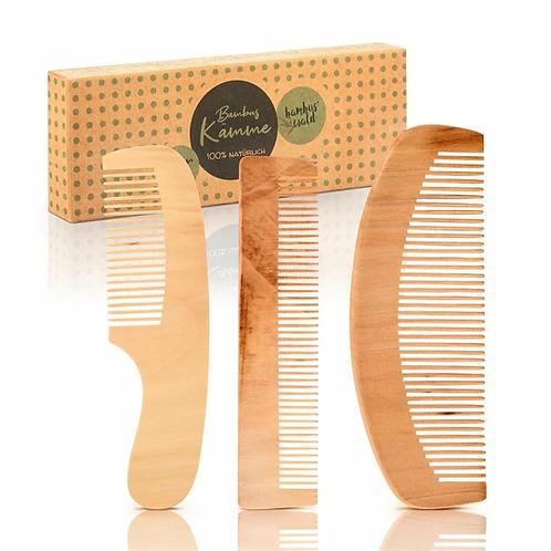 3x Kämme aus purem Bambus | Plastikfrei & 100% abbaubar