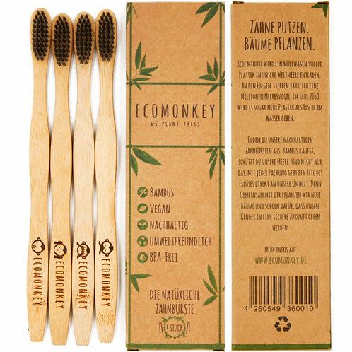 Bambus-Zahnbürsten 4er Pack