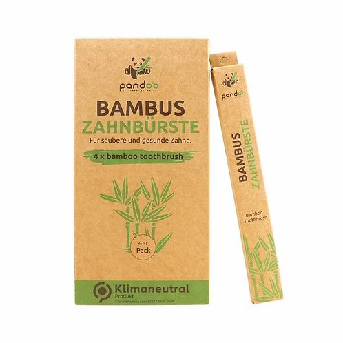 Bambus Zahnbürsten 4er