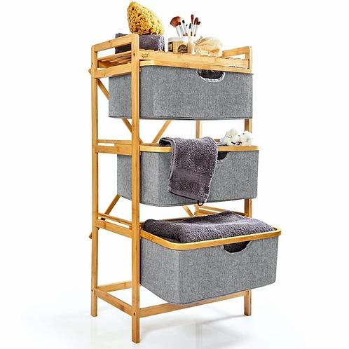 Premium Wäschesammler mit 3 Fächern aus nachhaltigem Bambus