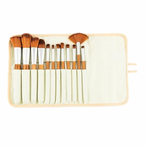 12 teiliges MakeUp Pinsel - Set mit Griff aus Bambus inkl. schöner Tasche