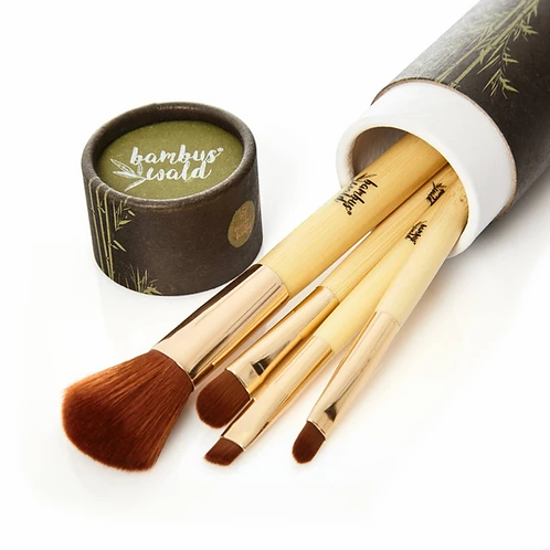 5 teiliges MakeUp Pinsel - Set mit Griff aus Bambus inkl. schöner Box
