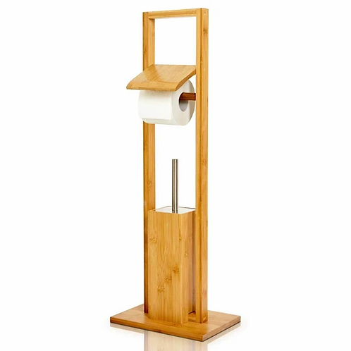 WC-Garnitur inkl. Klobürste & Papierrollenhalter aus ökologischem Bambus