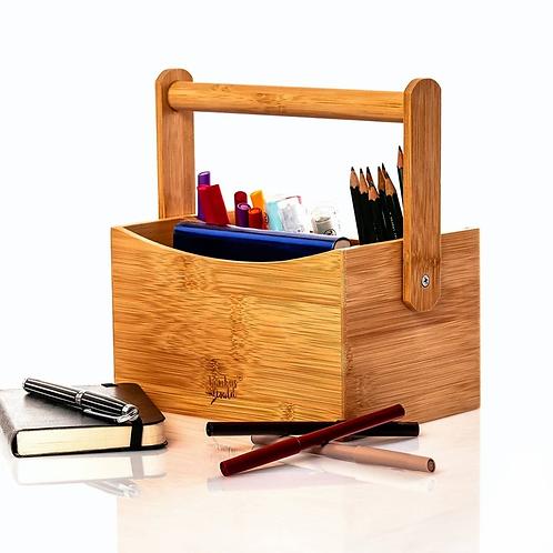Umweltfreundlicher Schreibtischorganizer mit 4 Fächern und Tragegriff aus Bambus