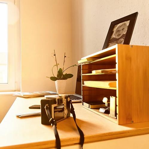 Ablagebox für Briefe, Mappen & sonstige Schreibtischutensilien aus Bambus mit va