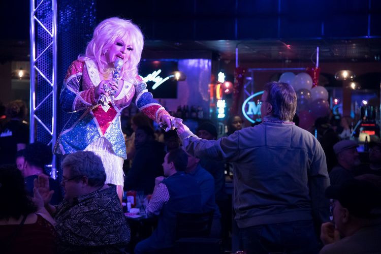 Nina DiAngelo performing during the grand opening of Hamburger Mary's in downtown St. Louis