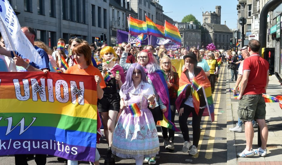 Grampian Pride marched down Union Street in Aberdeen