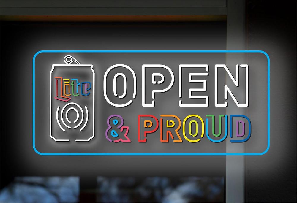 """Miller Lite """"Open & Proud"""" campaign logo"""