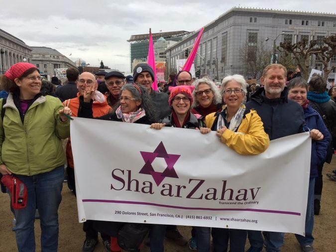 Shaar Zahav congregation standing outside