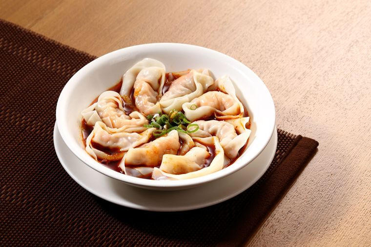 Spicy pork dumplings at Din Tai Fung