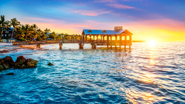 Sunset over the beach at the Pier in Key West