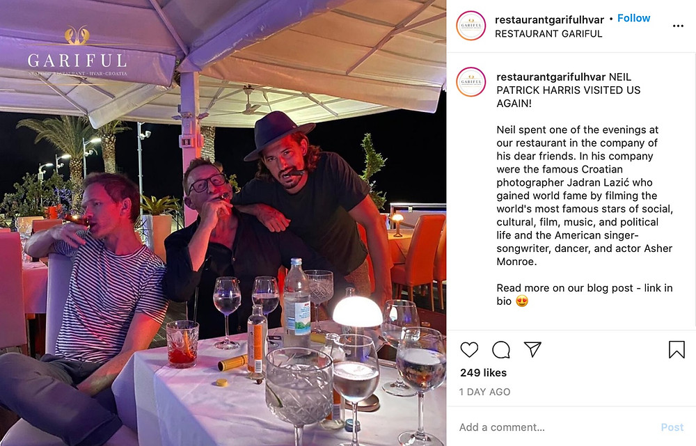 Neil Patrick Harris eating dinner in Croatia