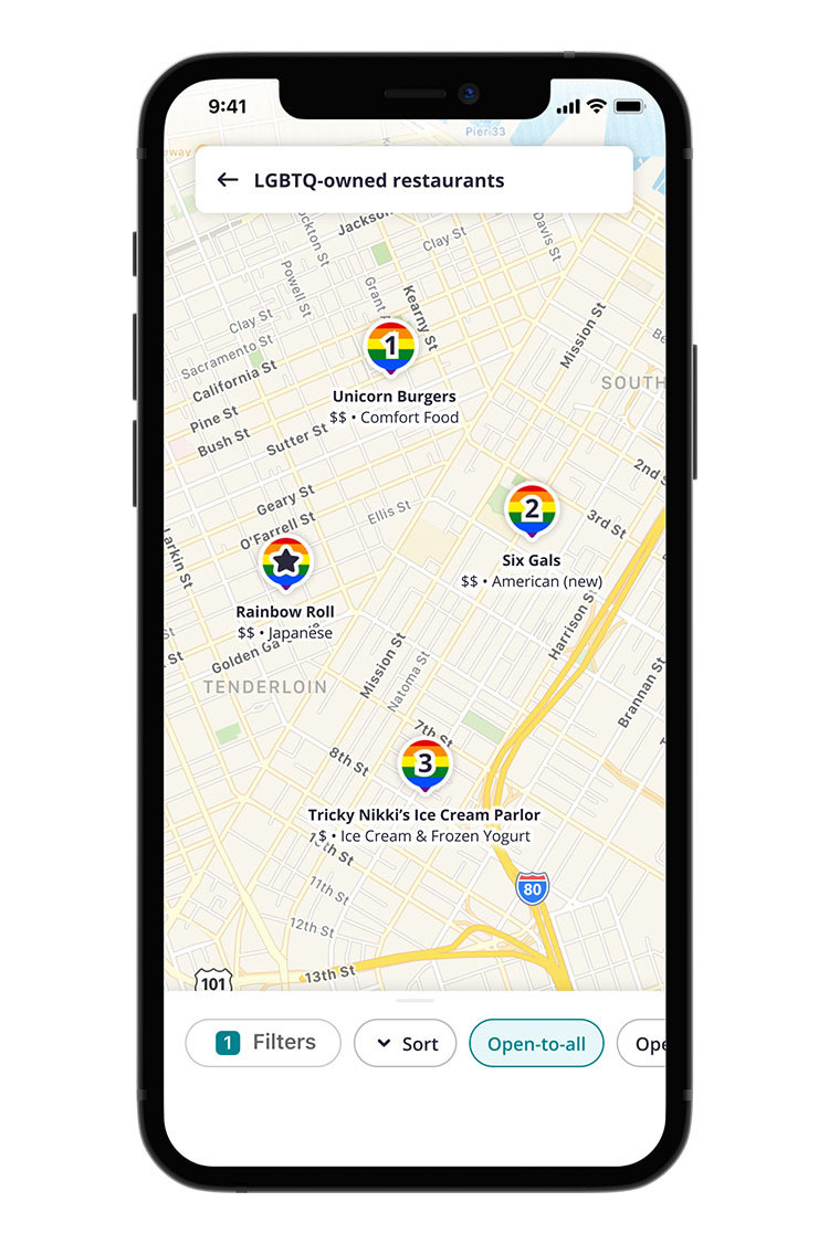 Yelp LGBTQ-Owned Rainbow Map Pins