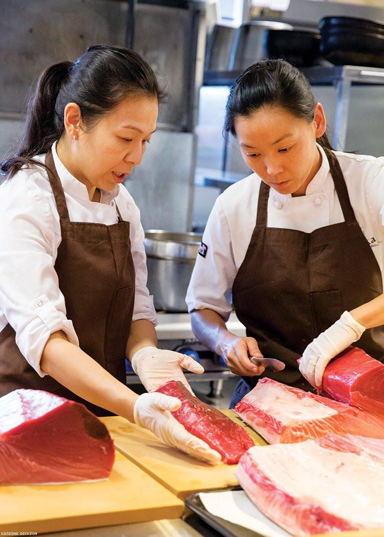 Niki Nakayama and Carole Iida Nakayama cooking